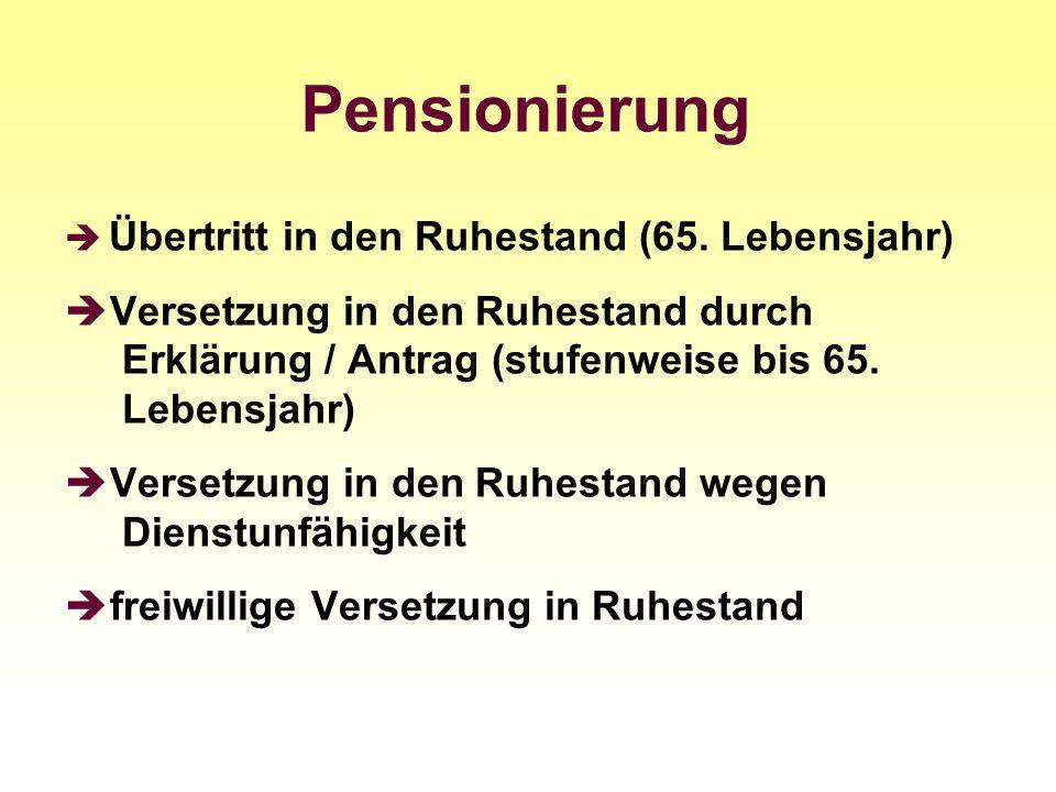 Pensionierung Übertritt in den Ruhestand (65. Lebensjahr) Versetzung in den Ruhestand durch Erklärung / Antrag (stufenweise bis 65. Lebensjahr) Verset