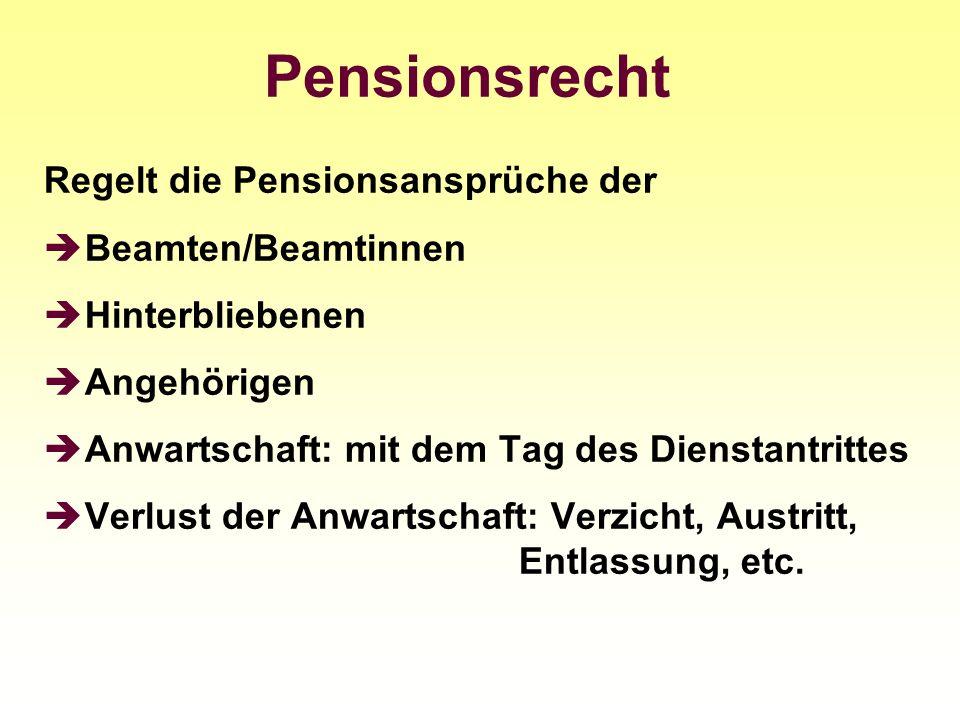 Regelt die Pensionsansprüche der Beamten/Beamtinnen Hinterbliebenen Angehörigen Anwartschaft: mit dem Tag des Dienstantrittes Verlust der Anwartschaft
