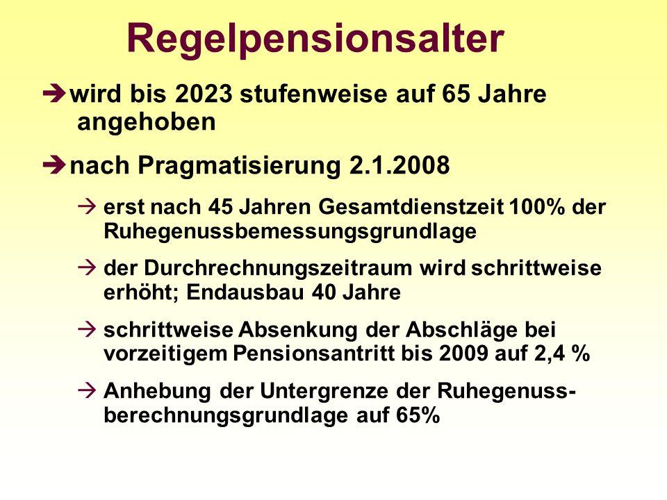 Regelpensionsalter wird bis 2023 stufenweise auf 65 Jahre angehoben nach Pragmatisierung 2.1.2008 erst nach 45 Jahren Gesamtdienstzeit 100% der Ruhege