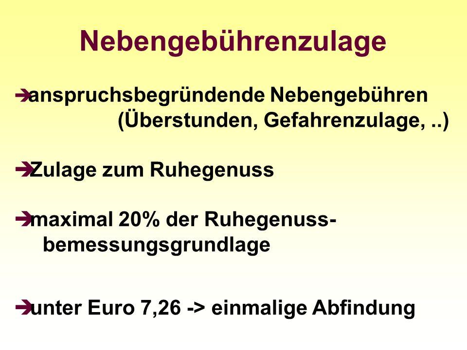 Nebengebührenzulage anspruchsbegründende Nebengebühren (Überstunden, Gefahrenzulage,..) Zulage zum Ruhegenuss maximal 20% der Ruhegenuss- bemessungsgr