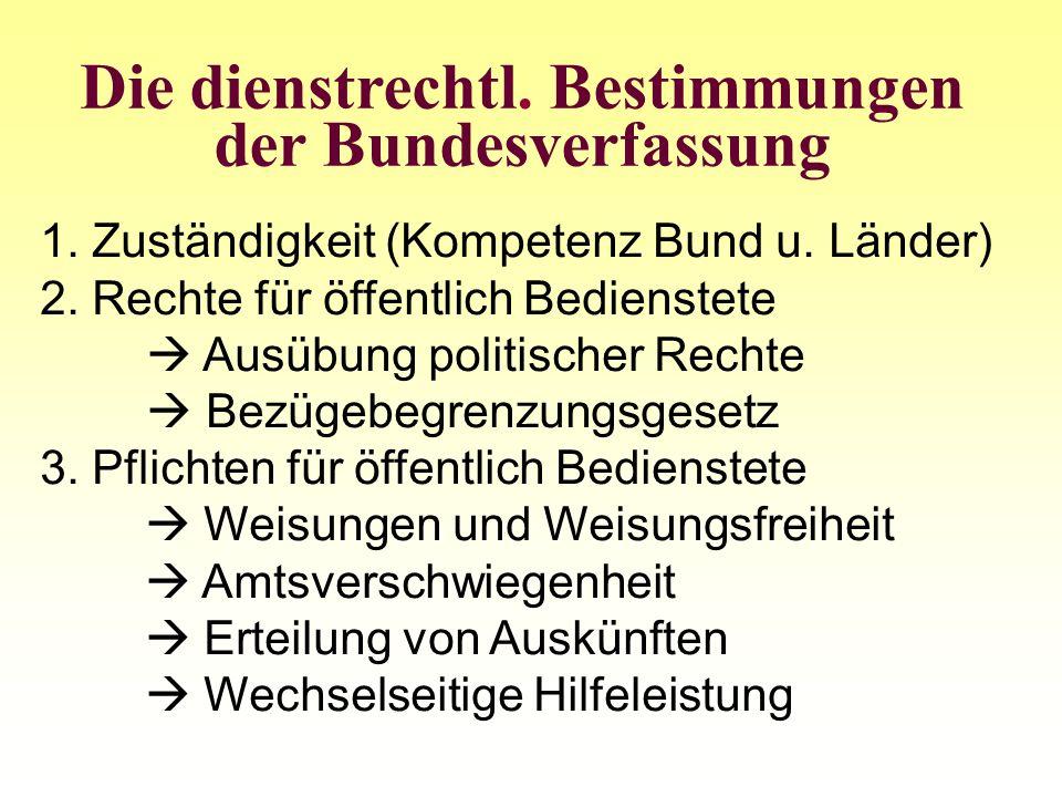 Die dienstrechtl. Bestimmungen der Bundesverfassung 1. Zuständigkeit (Kompetenz Bund u. Länder) 2. Rechte für öffentlich Bedienstete Ausübung politisc