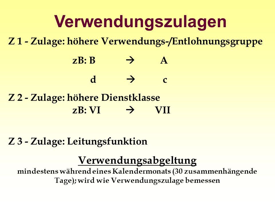 Verwendungszulagen Z 1 - Zulage: höhere Verwendungs-/Entlohnungsgruppe zB: B A d c Z 2 - Zulage: höhere Dienstklasse zB: VI VII Z 3 - Zulage: Leitungs