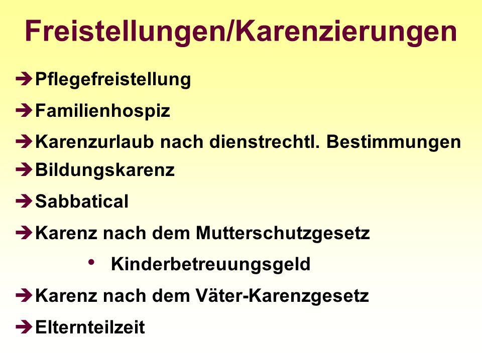 Freistellungen/Karenzierungen Pflegefreistellung Familienhospiz Karenzurlaub nach dienstrechtl. Bestimmungen Bildungskarenz Sabbatical Karenz nach dem