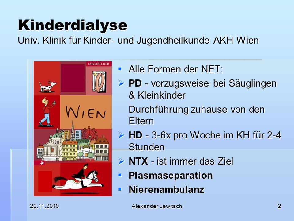 20.11.2010Alexander Lewitsch2 Kinderdialyse Univ. Klinik für Kinder- und Jugendheilkunde AKH Wien Alle Formen der NET: Alle Formen der NET: PD - vorzu