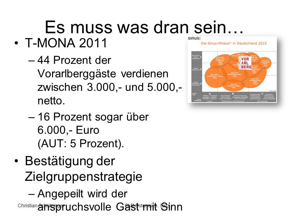Es muss was dran sein… T-MONA 2011 –44 Prozent der Vorarlberggäste verdienen zwischen 3.000,- und 5.000,- netto.