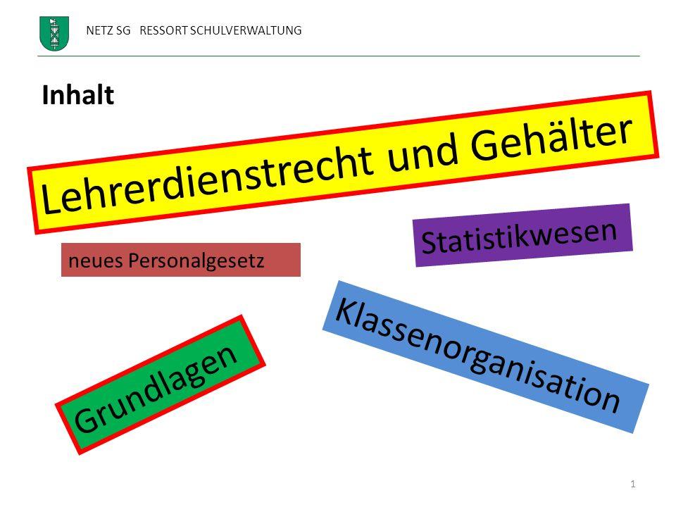 NETZ SG RESSORT SCHULVERWALTUNG 1 Lehrerdienstrecht und Gehälter Statistikwesen neues Personalgesetz Klassenorganisation Inhalt Grundlagen