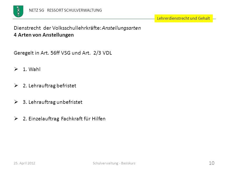 NETZ SG RESSORT SCHULVERWALTUNG Dienstrecht der Volksschullehrkräfte: Anstellungsarten 4 Arten von Anstellungen Geregelt in Art. 56ff VSG und Art. 2/3