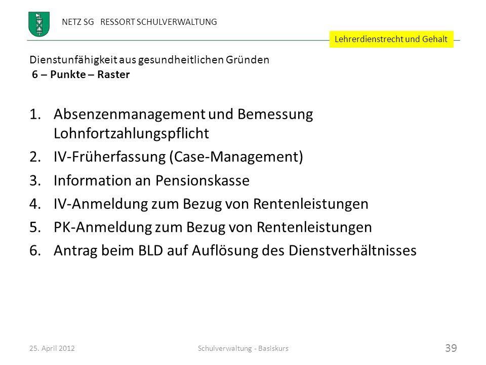 NETZ SG RESSORT SCHULVERWALTUNG Dienstunfähigkeit aus gesundheitlichen Gründen 6 – Punkte – Raster 25. April 2012Schulverwaltung - Basiskurs 39 1.Abse
