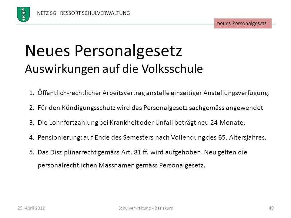 NETZ SG RESSORT SCHULVERWALTUNG Neues Personalgesetz Auswirkungen auf die Volksschule 1.Öffentlich-rechtlicher Arbeitsvertrag anstelle einseitiger Ans