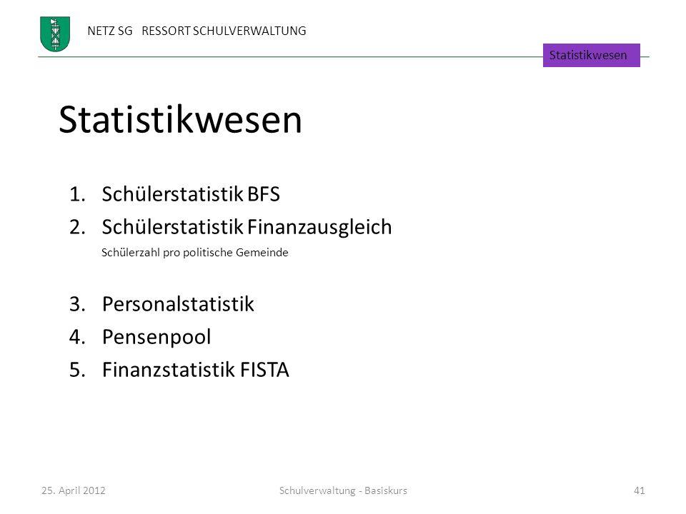 NETZ SG RESSORT SCHULVERWALTUNG Statistikwesen 1.Schülerstatistik BFS 2.Schülerstatistik Finanzausgleich Schülerzahl pro politische Gemeinde 3.Persona