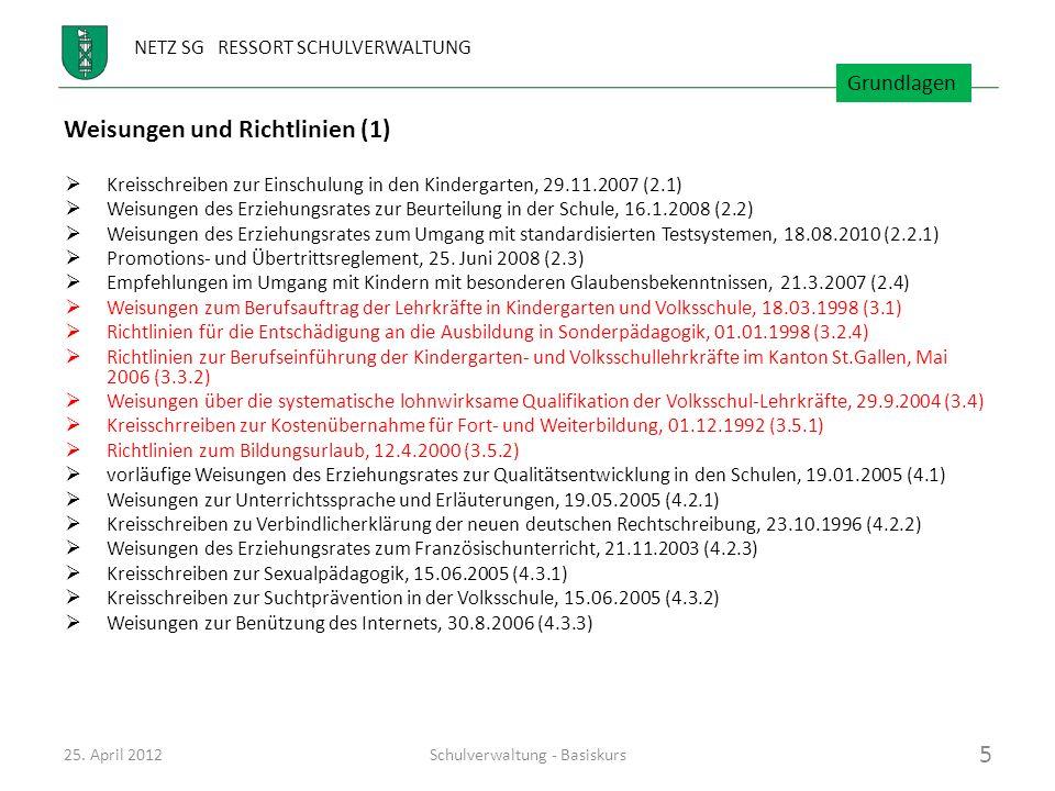 NETZ SG RESSORT SCHULVERWALTUNG Weisungen und Richtlinien (1) Kreisschreiben zur Einschulung in den Kindergarten, 29.11.2007 (2.1) Weisungen des Erzie