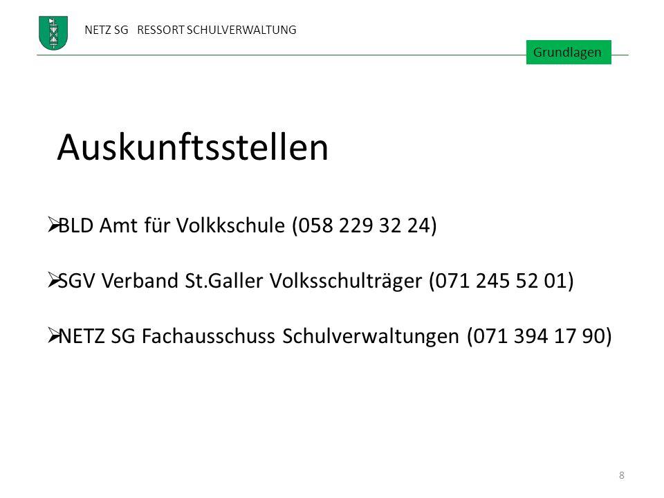 NETZ SG RESSORT SCHULVERWALTUNG Auskunftsstellen BLD Amt für Volkkschule (058 229 32 24) SGV Verband St.Galler Volksschulträger (071 245 52 01) NETZ S