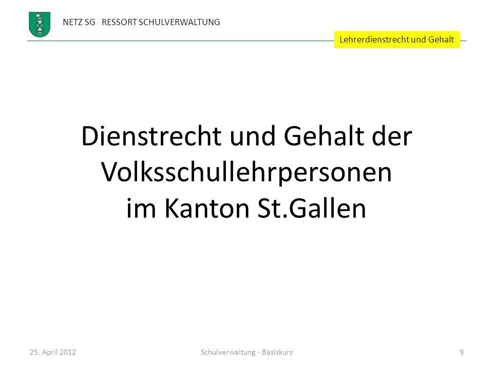 NETZ SG RESSORT SCHULVERWALTUNG Dienstrecht und Gehalt der Volksschullehrpersonen im Kanton St.Gallen 25. April 2012Schulverwaltung - Basiskurs9 Lehre