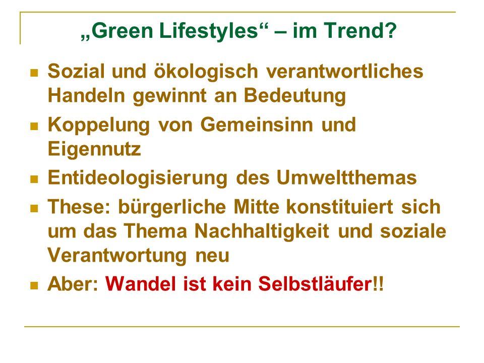 Green Lifestyles – im Trend? Sozial und ökologisch verantwortliches Handeln gewinnt an Bedeutung Koppelung von Gemeinsinn und Eigennutz Entideologisie
