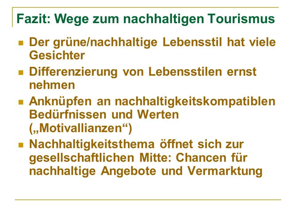 Fazit: Wege zum nachhaltigen Tourismus Der grüne/nachhaltige Lebensstil hat viele Gesichter Differenzierung von Lebensstilen ernst nehmen Anknüpfen an