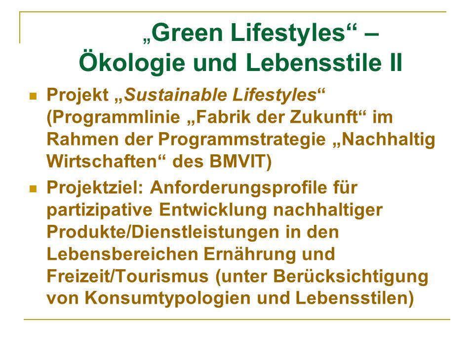 Green Lifestyles – Ökologie und Lebensstile III Projektpartner u.a.: - Österreichisches Institut für Nachhaltige Entwicklung (ÖIN) - Respect – Institut für Integrativen Tourismus und Entwicklung - Institut für Soziologie und empirische Sozialforschung, Wirtschaftsuniversität Wien - Zahlreiche ExpertInnen und KonsumentInnen