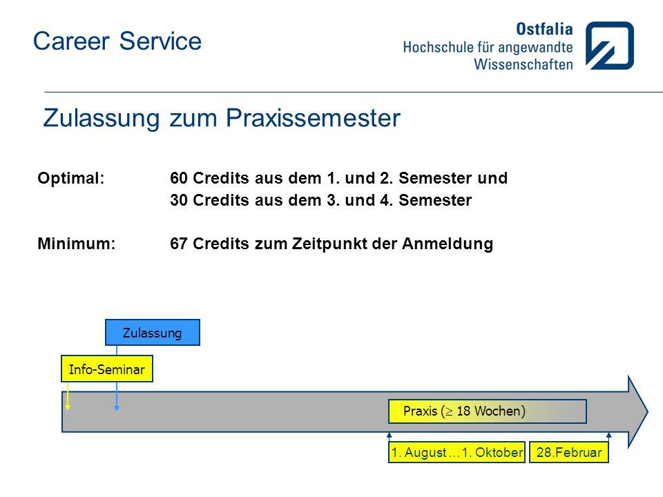 Career Service Zulassung zum Praxissemester Optimal: 60 Credits aus dem 1.