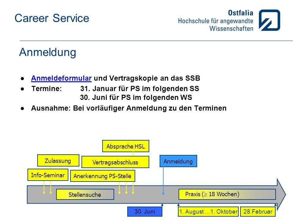 Career Service Anmeldung Anmeldeformular und Vertragskopie an das SSBAnmeldeformular Termine: 31.