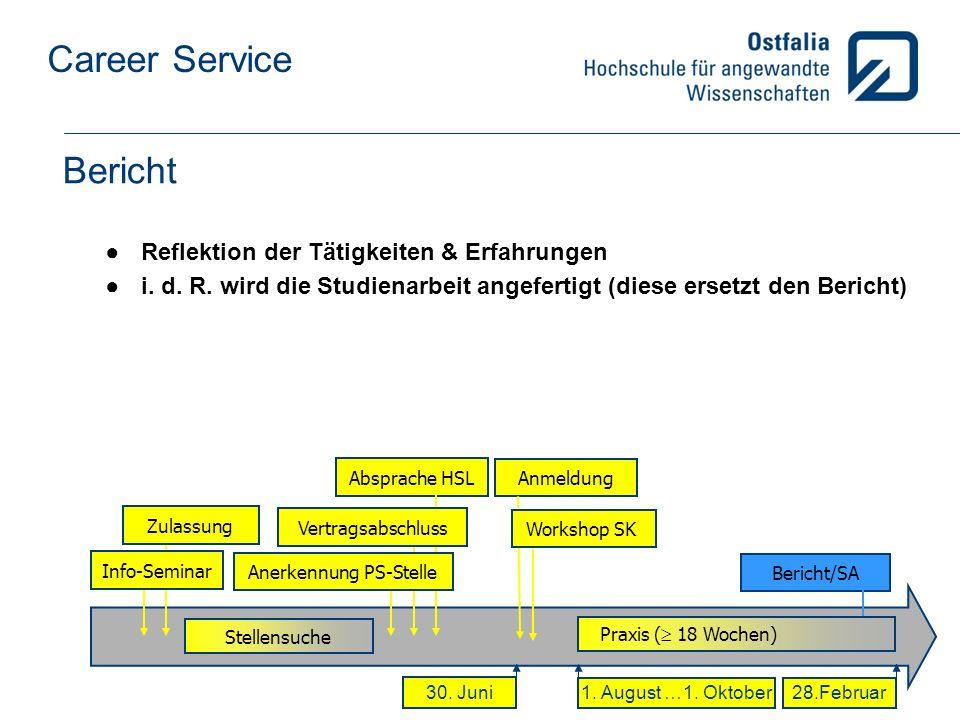 Career Service Bericht Reflektion der Tätigkeiten & Erfahrungen i.