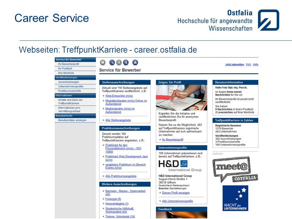 Career Service Service für das Praxissemester: Evtl.
