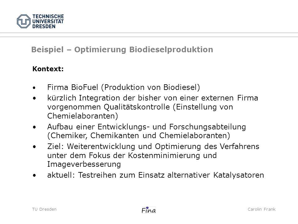 TU DresdenCarolin Frank Beispiel – Optimierung Biodieselproduktion Kontext: Firma BioFuel (Produktion von Biodiesel) kürzlich Integration der bisher v