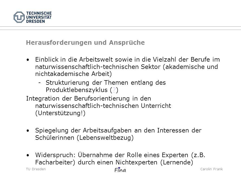 TU DresdenCarolin Frank Zusammenfassung Lebens- bzw.
