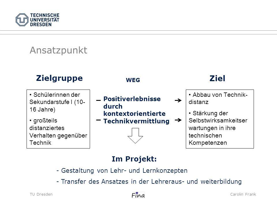 TU DresdenCarolin Frank Ansatzpunkt Zielgruppe Schülerinnen der Sekundarstufe I (10- 16 Jahre) großteils distanziertes Verhalten gegenüber Technik Pos