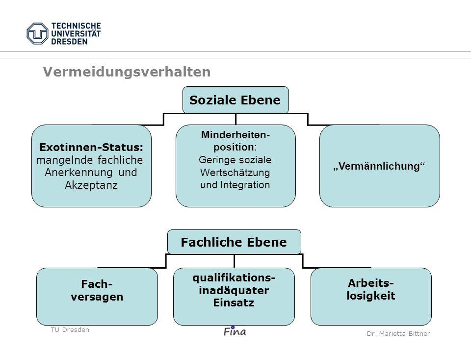 TU DresdenCarolin Frank Vermeidungsverhalten Soziale Ebene Exotinnen-Status: mangelnde fachliche Anerkennung und Akzeptanz Minderheiten- position: Ger