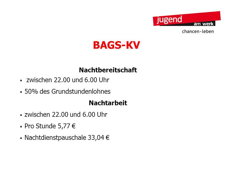 BAGS-KV Nachtbereitschaft zwischen 22.00 und 6.00 Uhr 50% des Grundstundenlohnes Nachtarbeit zwischen 22.00 und 6.00 Uhr Pro Stunde 5,77 Nachtdienstpa