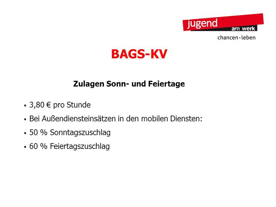 BAGS-KV Zulagen Sonn- und Feiertage 3,80 pro Stunde Bei Außendiensteinsätzen in den mobilen Diensten: 50 % Sonntagszuschlag 60 % Feiertagszuschlag