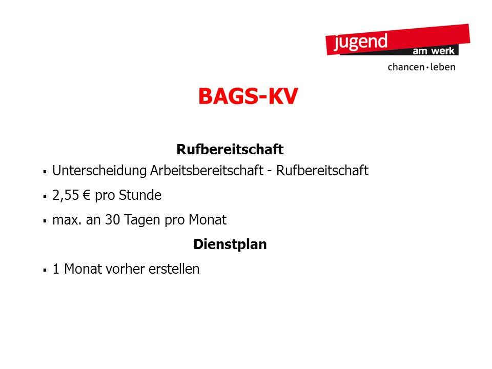 BAGS-KV Rufbereitschaft Unterscheidung Arbeitsbereitschaft - Rufbereitschaft 2,55 pro Stunde max. an 30 Tagen pro Monat Dienstplan 1 Monat vorher erst