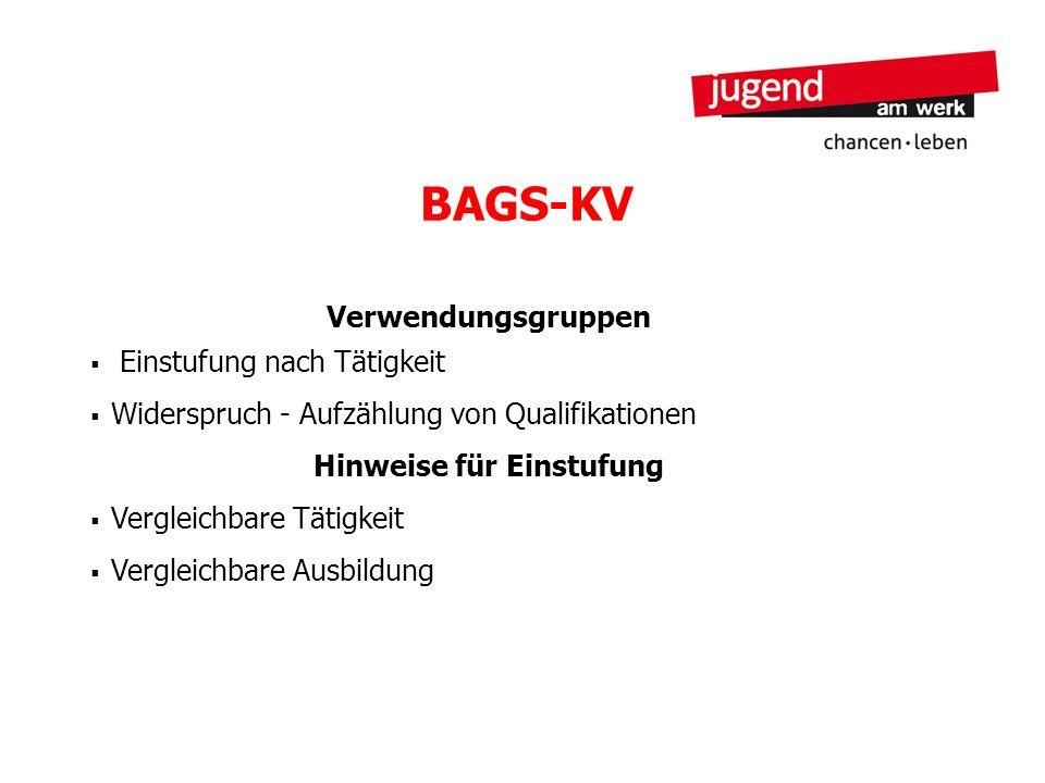 BAGS-KV Verwendungsgruppen Einstufung nach Tätigkeit Widerspruch - Aufzählung von Qualifikationen Hinweise für Einstufung Vergleichbare Tätigkeit Verg