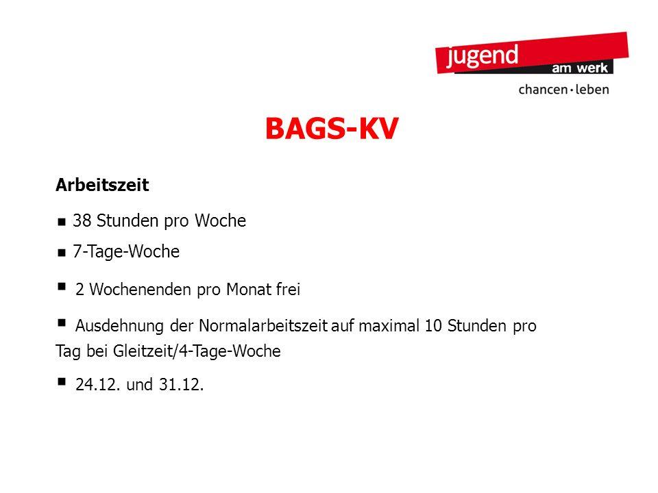 BAGS-KV Arbeitszeit 38 Stunden pro Woche 7-Tage-Woche 2 Wochenenden pro Monat frei Ausdehnung der Normalarbeitszeit auf maximal 10 Stunden pro Tag bei