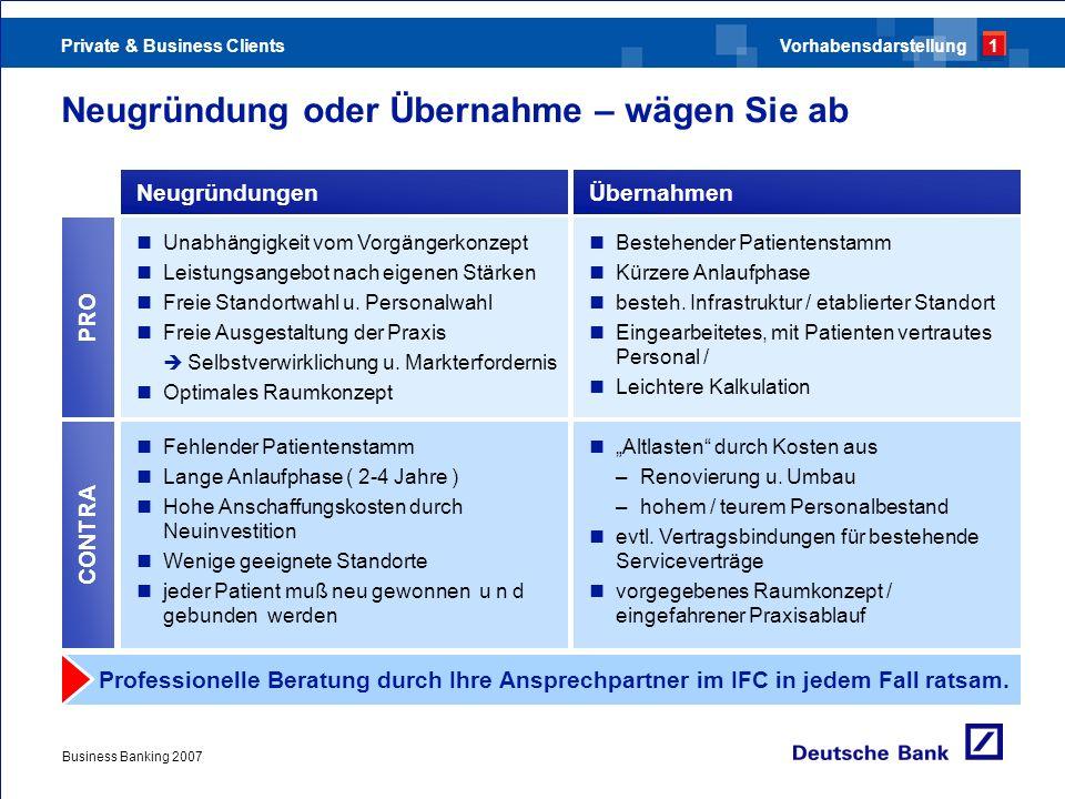 Private & Business Clients Business Banking 2007 Neugründung oder Übernahme – wägen Sie ab NeugründungenÜbernahmen Unabhängigkeit vom Vorgängerkonzept