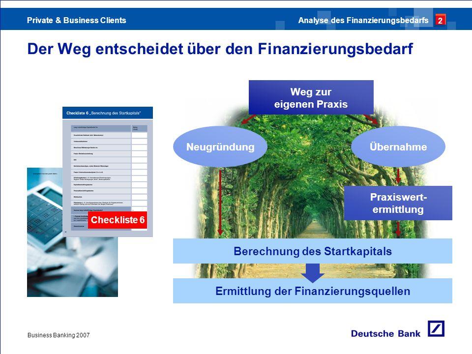 Private & Business Clients Business Banking 2007 Der Weg entscheidet über den Finanzierungsbedarf Checkliste 6 Ermittlung der Finanzierungsquellen Ber