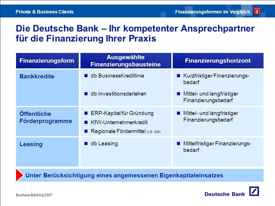 Private & Business Clients Business Banking 2007 Die Deutsche Bank – Ihr kompetenter Ansprechpartner für die Finanzierung Ihrer Praxis Finanzierungsfo