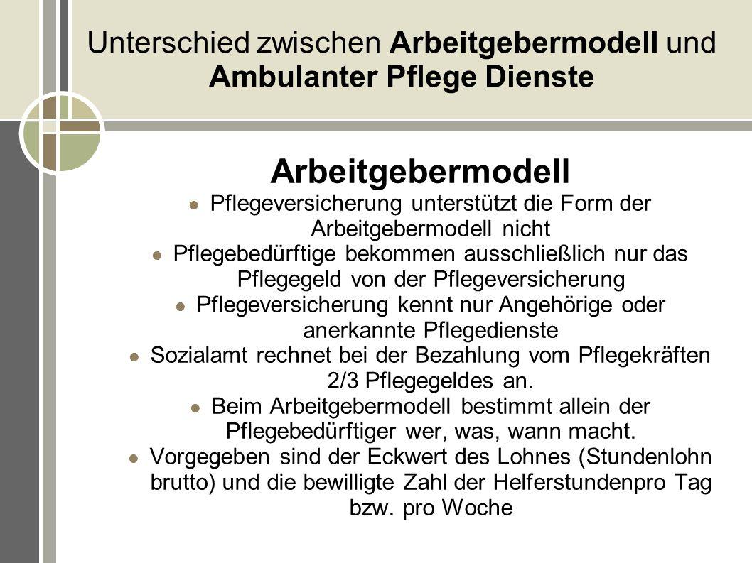 Unterschied zwischen Arbeitgebermodell und Ambulanter Pflege Dienste Arbeitgebermodell Pflegeversicherung unterstützt die Form der Arbeitgebermodell n