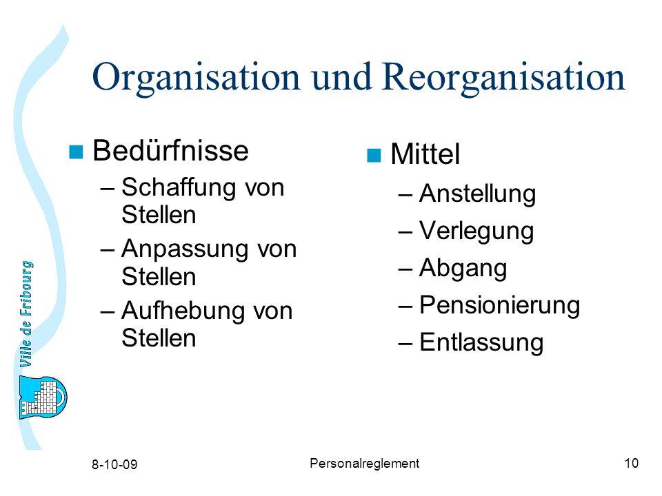 8-10-09 Personalreglement10 Organisation und Reorganisation Bedürfnisse –Schaffung von Stellen –Anpassung von Stellen –Aufhebung von Stellen Mittel –Anstellung –Verlegung –Abgang –Pensionierung –Entlassung