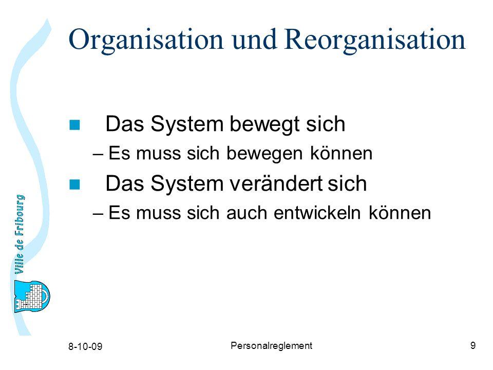 8-10-09 Personalreglement9 Organisation und Reorganisation Das System bewegt sich –Es muss sich bewegen können Das System verändert sich –Es muss sich auch entwickeln können