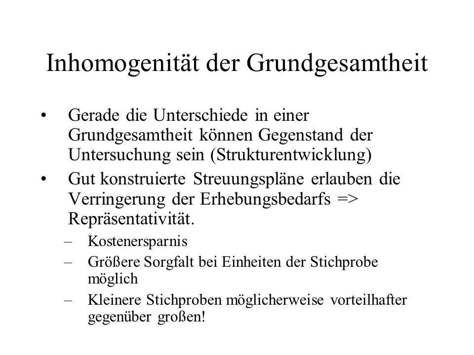 Inhomogenität der Grundgesamtheit Gerade die Unterschiede in einer Grundgesamtheit können Gegenstand der Untersuchung sein (Strukturentwicklung) Gut k