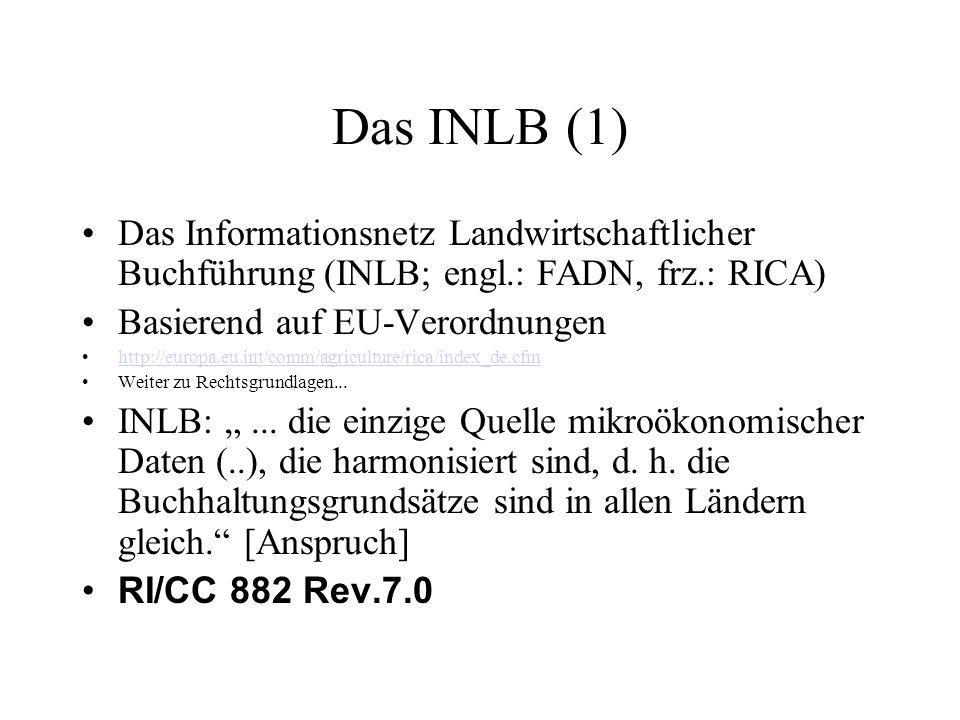 Das INLB (1) Das Informationsnetz Landwirtschaftlicher Buchführung (INLB; engl.: FADN, frz.: RICA) Basierend auf EU-Verordnungen http://europa.eu.int/