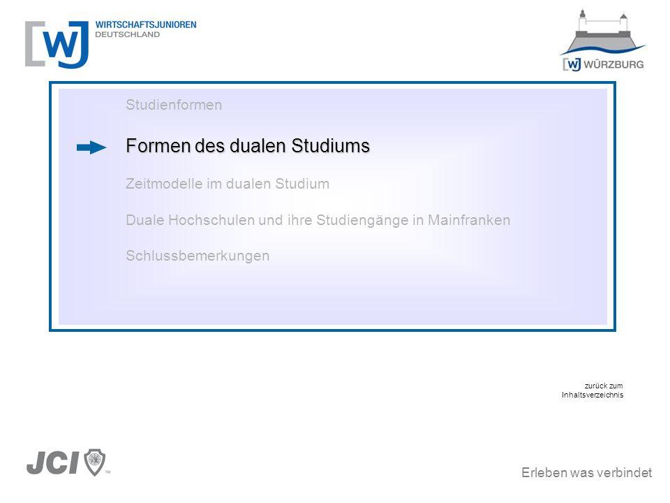 Erleben was verbindet Studienformen Formen des dualen Studiums Zeitmodelle im dualen Studium Duale Hochschulen und ihre Studiengänge in Mainfranken Sc