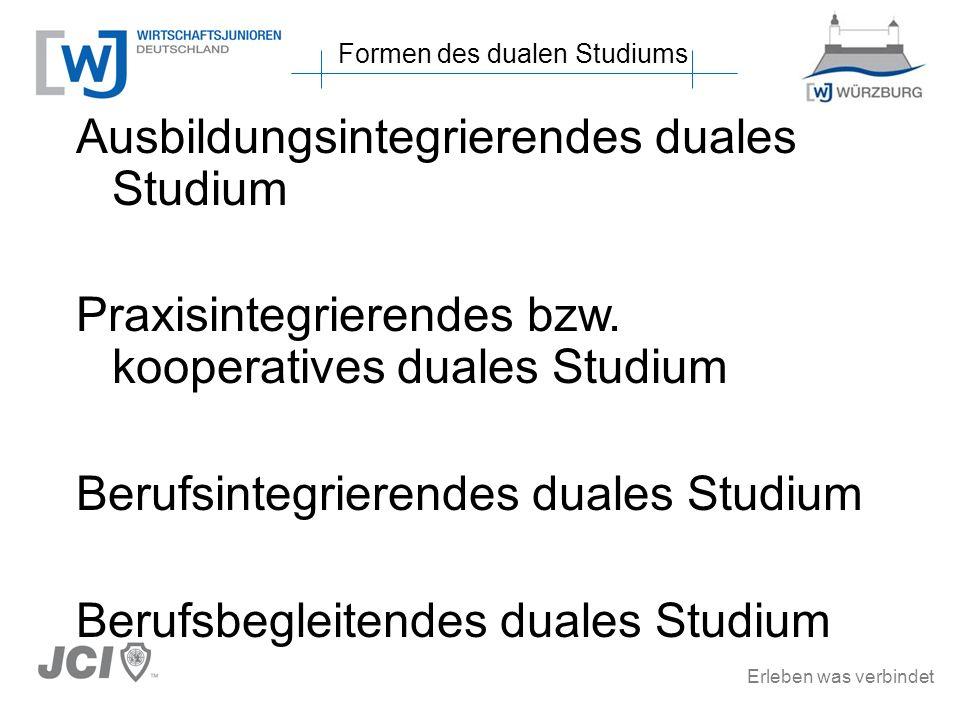 Erleben was verbindet Ausbildungsintegrierendes duales Studium Praxisintegrierendes bzw. kooperatives duales Studium Berufsintegrierendes duales Studi
