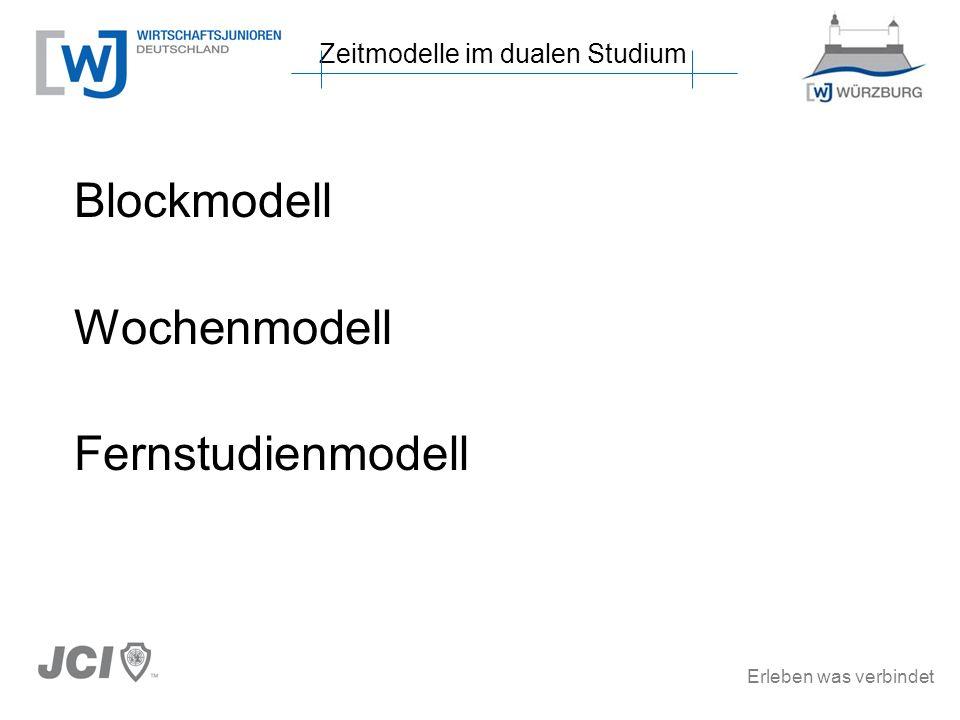 Erleben was verbindet Blockmodell Wochenmodell Fernstudienmodell Zeitmodelle im dualen Studium