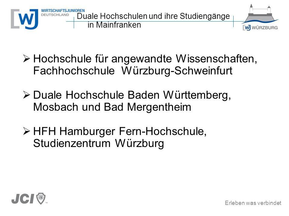 Erleben was verbindet Hochschule für angewandte Wissenschaften, Fachhochschule Würzburg-Schweinfurt Duale Hochschule Baden Württemberg, Mosbach und Ba