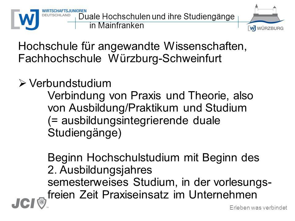 Erleben was verbindet Hochschule für angewandte Wissenschaften, Fachhochschule Würzburg-Schweinfurt Verbundstudium Verbindung von Praxis und Theorie,