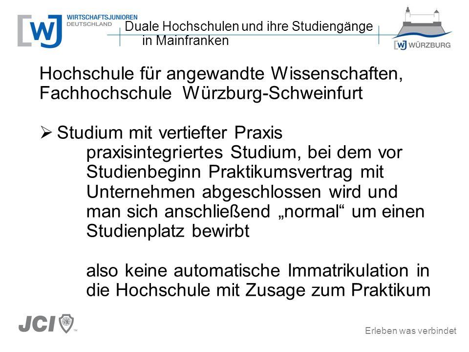 Erleben was verbindet Hochschule für angewandte Wissenschaften, Fachhochschule Würzburg-Schweinfurt Studium mit vertiefter Praxis praxisintegriertes S