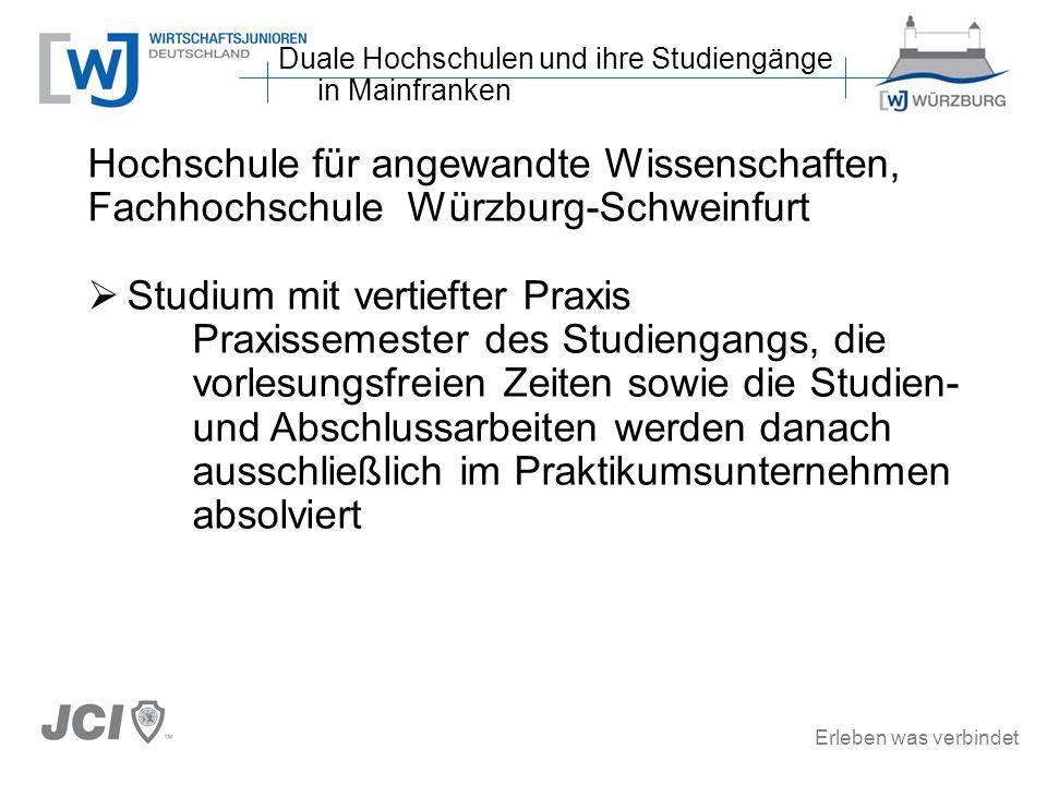 Erleben was verbindet Hochschule für angewandte Wissenschaften, Fachhochschule Würzburg-Schweinfurt Studium mit vertiefter Praxis Praxissemester des S