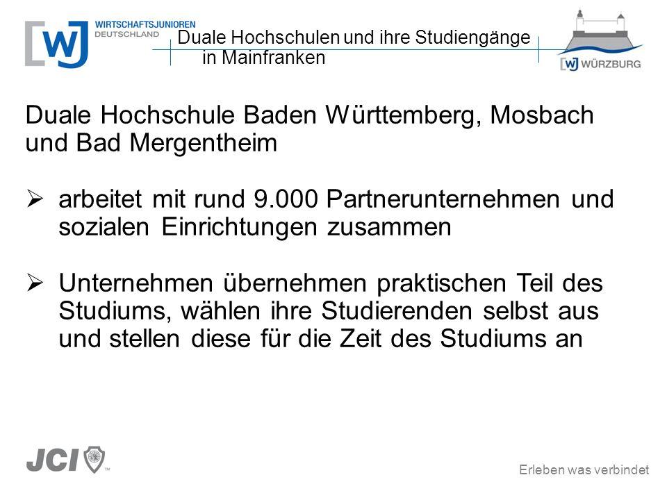 Erleben was verbindet Duale Hochschule Baden Württemberg, Mosbach und Bad Mergentheim arbeitet mit rund 9.000 Partnerunternehmen und sozialen Einricht