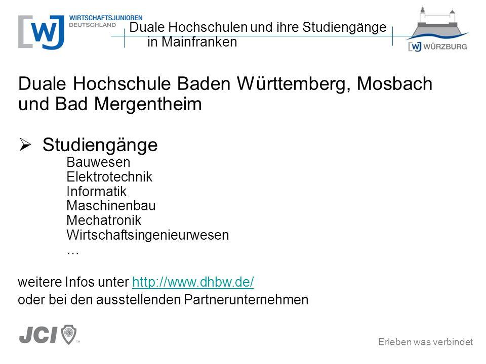 Erleben was verbindet Duale Hochschule Baden Württemberg, Mosbach und Bad Mergentheim Studiengänge Bauwesen Elektrotechnik Informatik Maschinenbau Mec